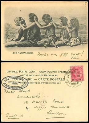 India 1a 1904 Old Postcard MADRAS HUNT Native Women Girls Hunting for Lice Louse