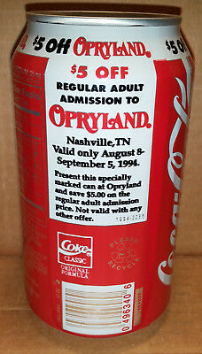 Coke - $5 Off admission to Opryland, Nashville, TN Coca-Cola 12 oz Can 1994