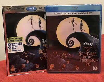 THE NIGHTMARE BEFORE CHRISTMAS 3D Blu-Ray LENTICULAR SLIPCOVER 3-Disc Combo NEW!