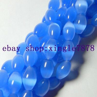 Natural 8x12mm Blue Mexican Opal Gemstone Rice Loose Bead 13'' 999