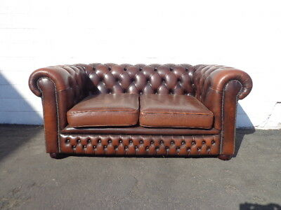 Chesterfield Sofa Vintage Leather English Couch Loveseat Sleeper Bed Vintage MCM