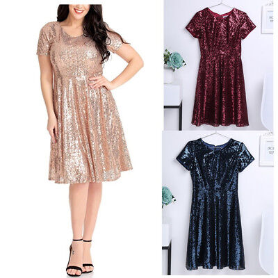 Women Ladies Round Neckline Short Shiny Bridesmaid Dress Evening Party Prom Ball