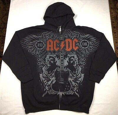 "AC DC ""Black Ice"" Full Zip Hoodie Official Adult Mens Black New XL"