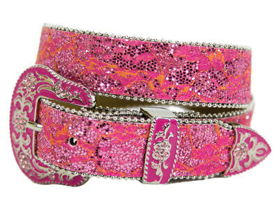 New Belt - Western - Girls Hot Pink Sparkling - [Code 363PK] Girls Belts Brigalo