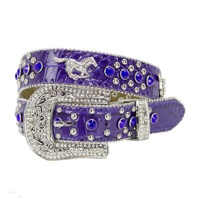 New Belt - Western - Purple Leather Crocodile Pattern with Silver Running Horse