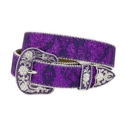 New Belt - Western - Girls Purple Sparkling - [Code 363PU] Girls Belts Brigalow