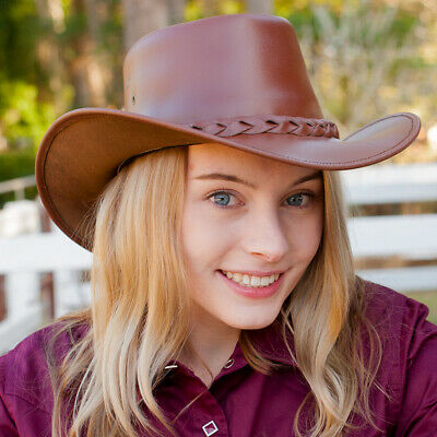 New Mid Brown Leather Hat - Code 213 Cowboy Cowgirl Hat Brigalow