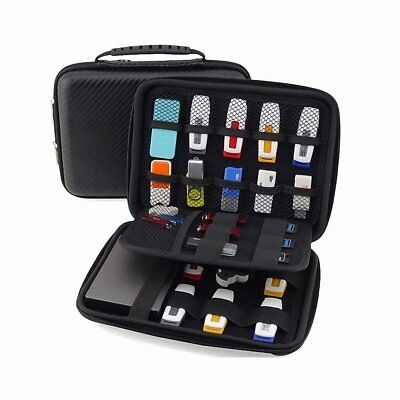 Waterproof Leather Case Electronic Accessories Organizer Holder U-Disk HDD Bag