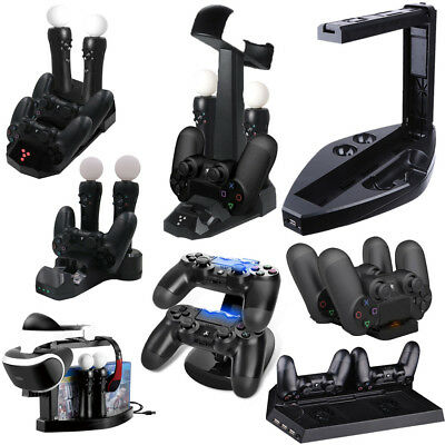 5in1 Dual Charger Dock Charging Station Stand For Sony PS4 Playstation VR PSVR