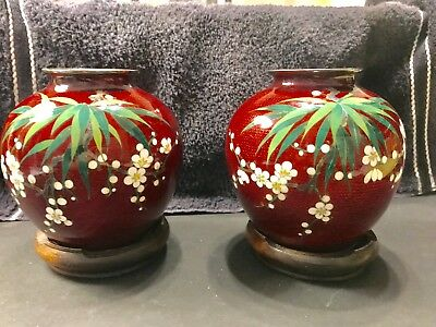 2 Antique Japanese Pigeon Blood Red Inaba Cloisonne Vases-Circa1920's -EX Cond