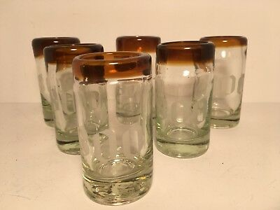 6 Cuervo 1800 Tequila Shot Glasses Etched Hand Blown Amber/Brown Rim Barware