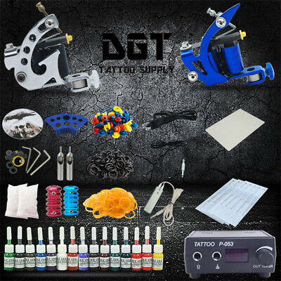 Complete Tattoo Kit 2 Machines Power Supply 15 colors ink tk-23