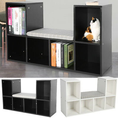 2 Tier Bookshelf Wood Bookcase Cube Storage Shelving Furniture With Cushion US