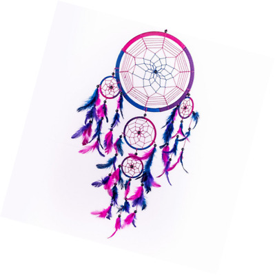 Caught Dreams Dream Catcher ~ Handmade Traditional Royal Blue, Pink & Purple 10.