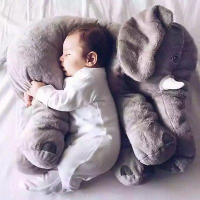 Elephant Stuffed Plush Animal Toy for Children Kids Grey Baby Bed Pillow Cushion