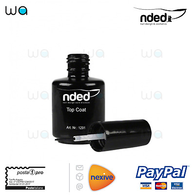 Nded Top Coat Finish Lucido Sigillante 15 Ml Ricostruzione Unghie Nail Art Nails