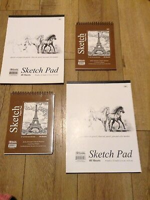 "BAZIC Set of 4 Premium SKETCH BOOK Paper Pad 6"" x 8"",  9"" x 12"""