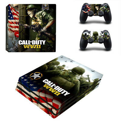 Playstation 4 PS4 Pro Console Skin Sticker New Call Of Duty WW3 + 2 Controllers