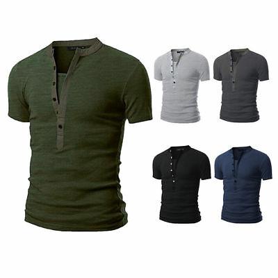 Stylish Men Tee Shirt Slim Fit V Neck Short Sleeve Muscle Casual Tops T-Shirts
