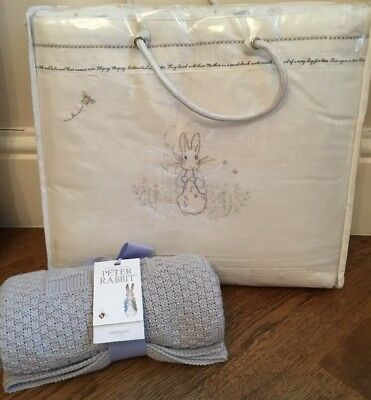 Mothercare Peter Rabbit ( 150 Yrs ) Cot / Cotbed Bumper & Blanket / Shawl