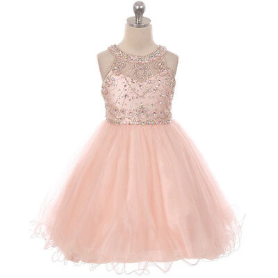 BLUSH Flower Girl Dress Formal Prom Bridesmaid Dance Wedding Birthday Gown Party