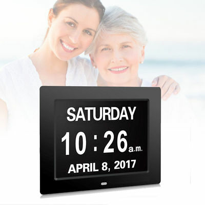 """8"""" Digital Calendar Day Clock Electronic Alarm Extra Large Clear Memory Loss"""