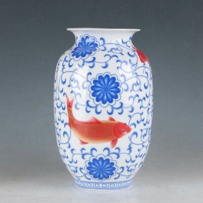 China Porcelain Hand-Painted Flowers&Goldfish Vase Made During TheDaqingQianlong