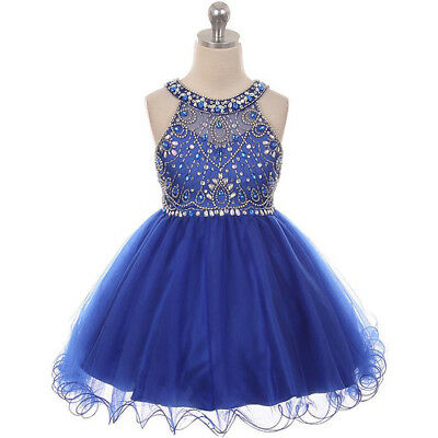 ROYAL BLUE Flower Girl Dress Graduation Dance Prom Formal Wedding Birthday Party