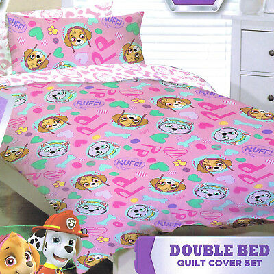 Paw Patrol - Ruff Ruff Pink - Double/US Full Bed Quilt Doona Duvet Cover set