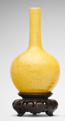 A Chinese yellow-glaze miniature vase with qianlong mark, Qing dynasty