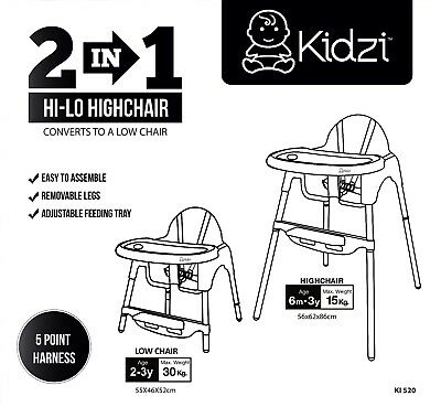 Kidzi Baby Child Kids 2 in 1 Double Height Highchair Easy Clean & Quick Assembly