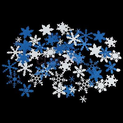 Pack of 50 Mixed Color Glitter Snow Snowflake DIY Craft Home Wall Decoration