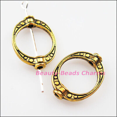 8Pcs Antiqued Gold Tone Oval Dots Spacer Frame Beads Charms 14.5x19.5mm