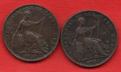 1821 & 1822 GEORGE IV COPPER FARTHING COINS. 2 X 1/4d.