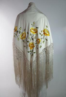 Antique Embroidered Silk Shawl With Yellow Peonies