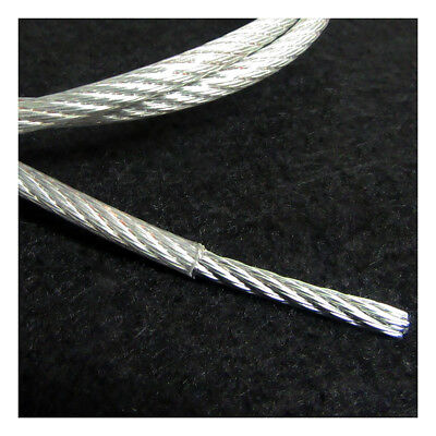 CLEAR PVC COATED GALVANISED STEEL WIRE CABLE 3mm, 4.5mm, 5mm HEAVY DUTY ROPE UK