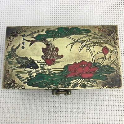 Old  Chinese Copper hand engraving  Fish and lotus flower Storage Jewelry Box G