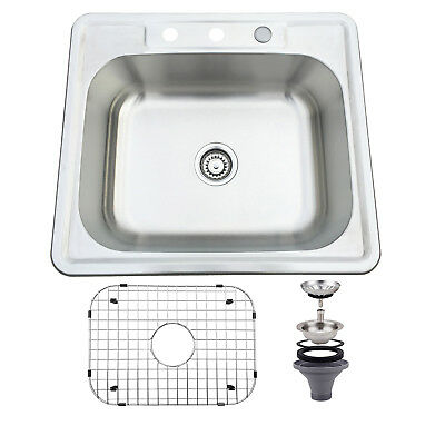 25*22*8 inch Stainless Steel Sink Single Bowl Drop Under Mount Kitchen Sink
