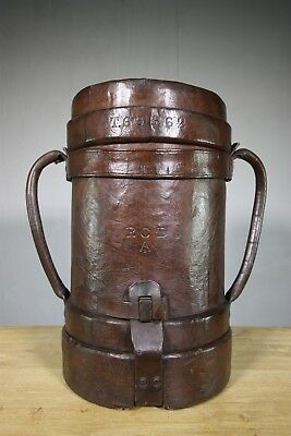 Large Edwardian Antique Leather Shell Case Carrier.