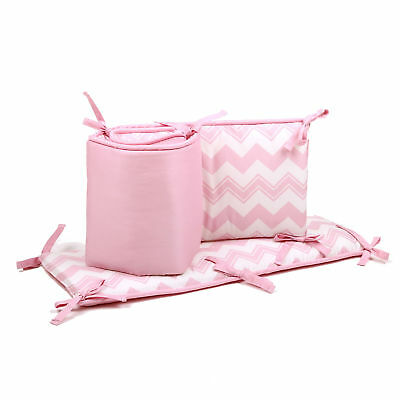 Pink Chevron and Solid Baby Crib Bumper by The Peanut Shell