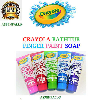 CRAYOLA Bathtub Fingerpaint Soap Tubes Set of 5 ~Red Pink Blue Green Purple