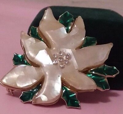 Vintage Rhinestone & Enameled Poinsetta  Brooch/Pin SIGNED Mother of Pearl GIFT