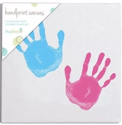 "Tiny Ideas Handprint Canvas Keepsake Wall Art Kit 9 x 9"" Blue&Pink New Sealed"