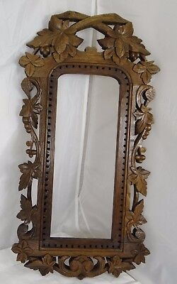 French Antique Hand Carved Oak Wood Openwork Panel - Black Forest Frame Mirror
