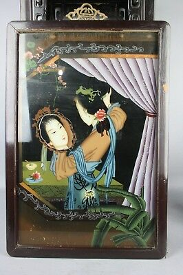20th C. Chinese Reverse Glass Painted Beauty