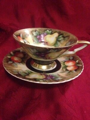 Lefton China Cup And Saucer Hand Painted Fruit