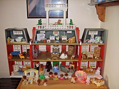 sylvanian families regency hotel fully furnished with 17 figures + extras