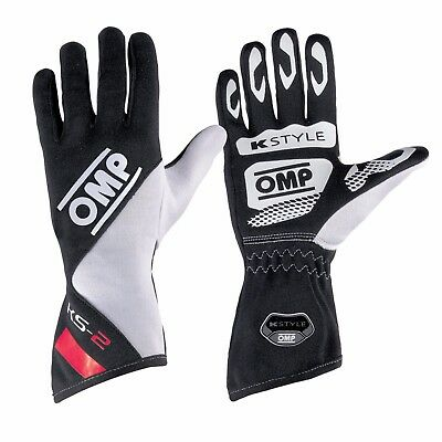 CLEARANCE! OMP KS-2 Kart Gloves (Size:Extra Extra Small Colour: Black/White/Red)
