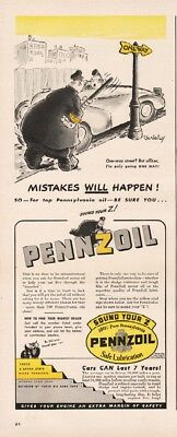 1942 PennZoil Motor Oil Jay Irving Cartoon advertising Comic Cop One Way Ad