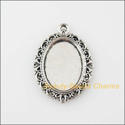 4Pcs Tibetan Silver Tone Oval Flower Charms Pendants Picture Frame 21x29mm